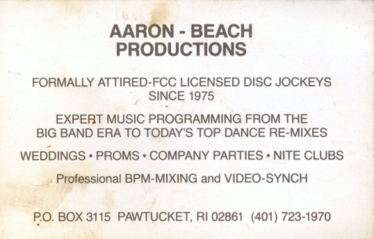 RI-MA-CT Wedding DJ & RI-MA-CT DJ Services & RI-MA-CT Disc Jockeys business card 1986-1995